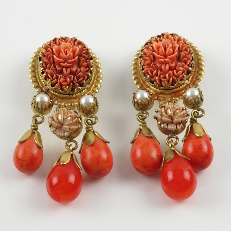 Vintage French Gas St Tropez dangling clip on earrings glass drop faux coral 2
