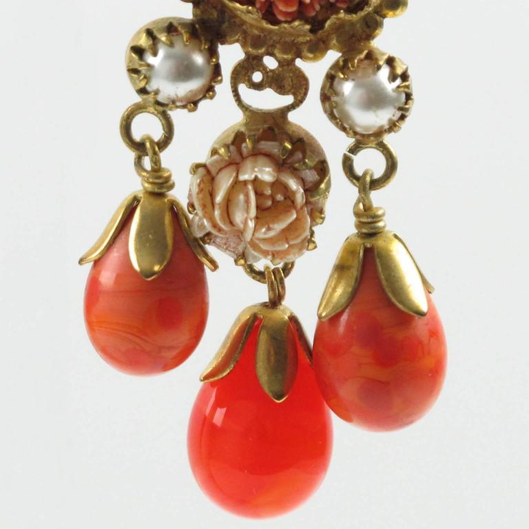 Vintage French Gas St Tropez dangling clip on earrings glass drop faux coral 7