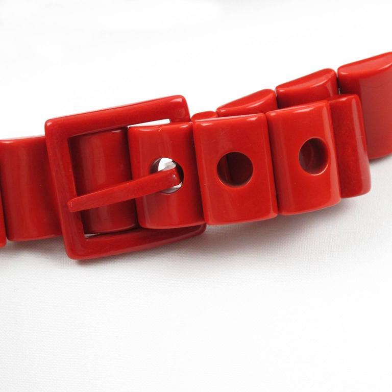 Yves Saint Laurent Vintage Rare 1970s Red Resin Waist Belt 7