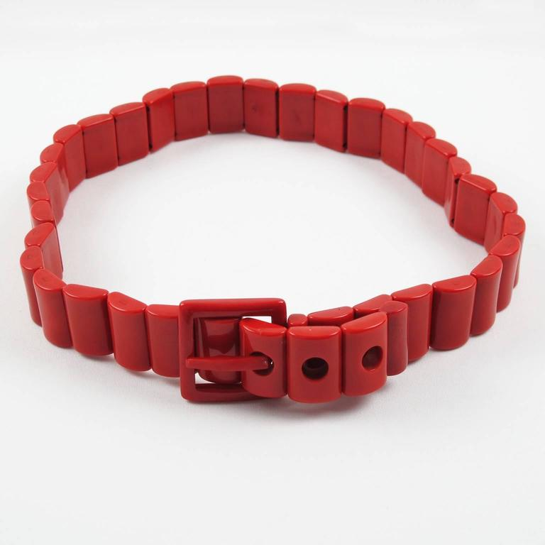 Yves Saint Laurent Vintage Rare 1970s Red Resin Waist Belt 3