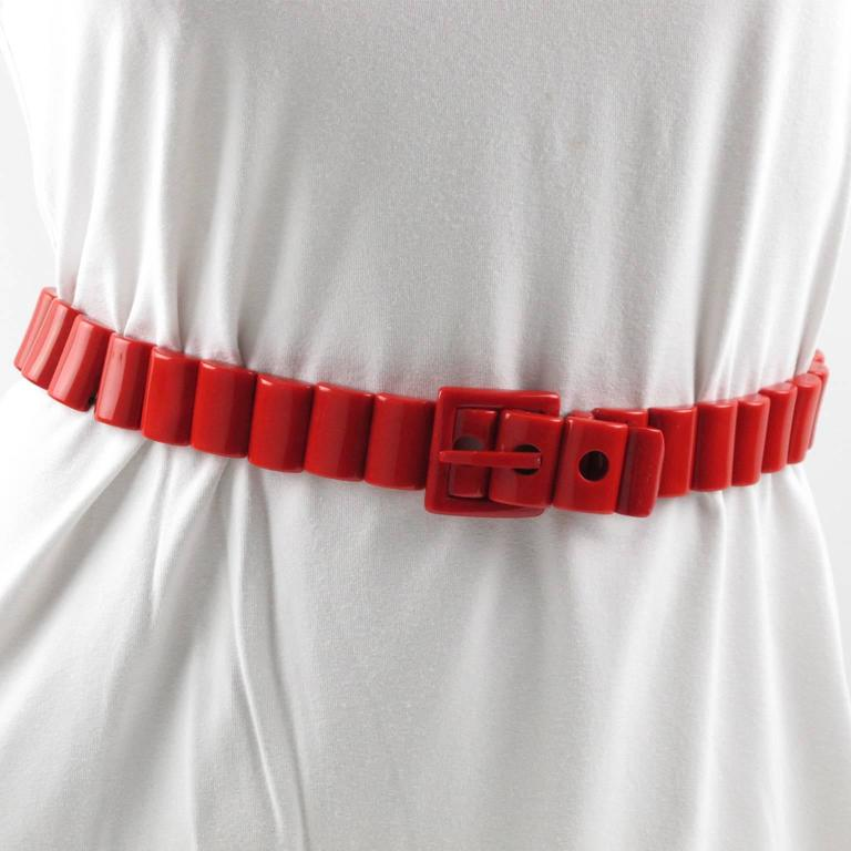 Yves Saint Laurent Vintage Rare 1970s Red Resin Waist Belt 5