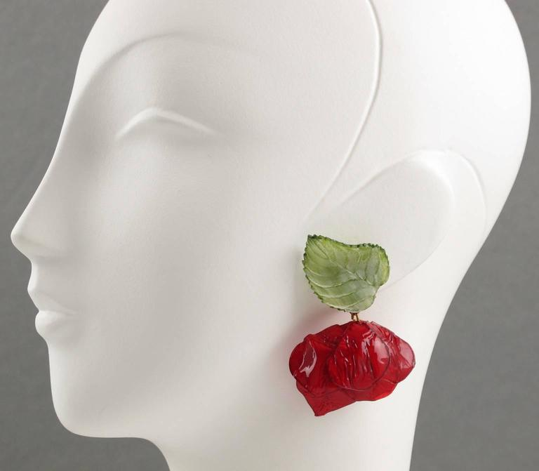 Francoise Montague Paris clip on Earrings Resin Talosel rose flower 2
