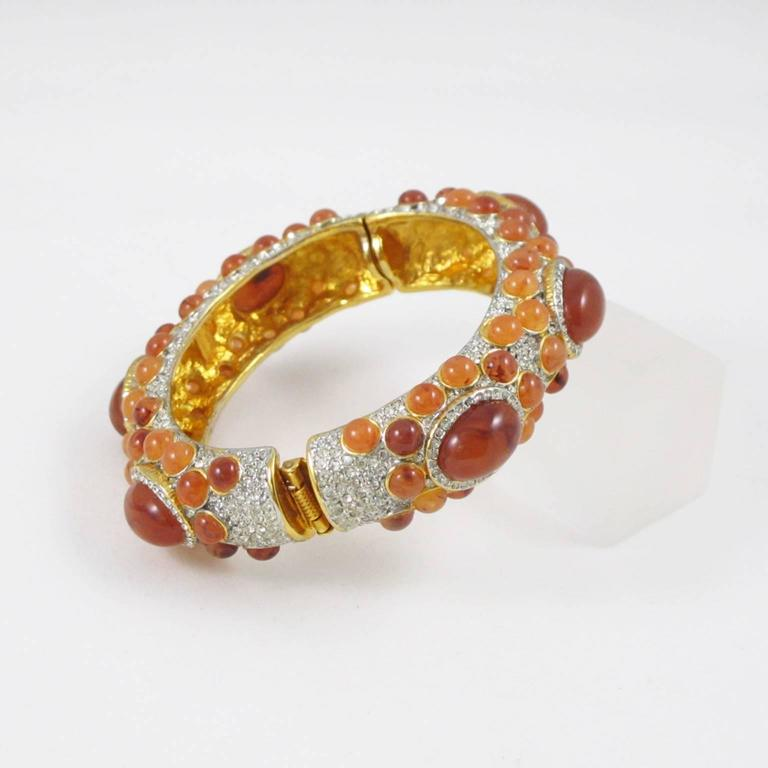 Women's Kenneth Jay Lane Grace Collection Jeweled Clamper Bracelet Bangle  For Sale