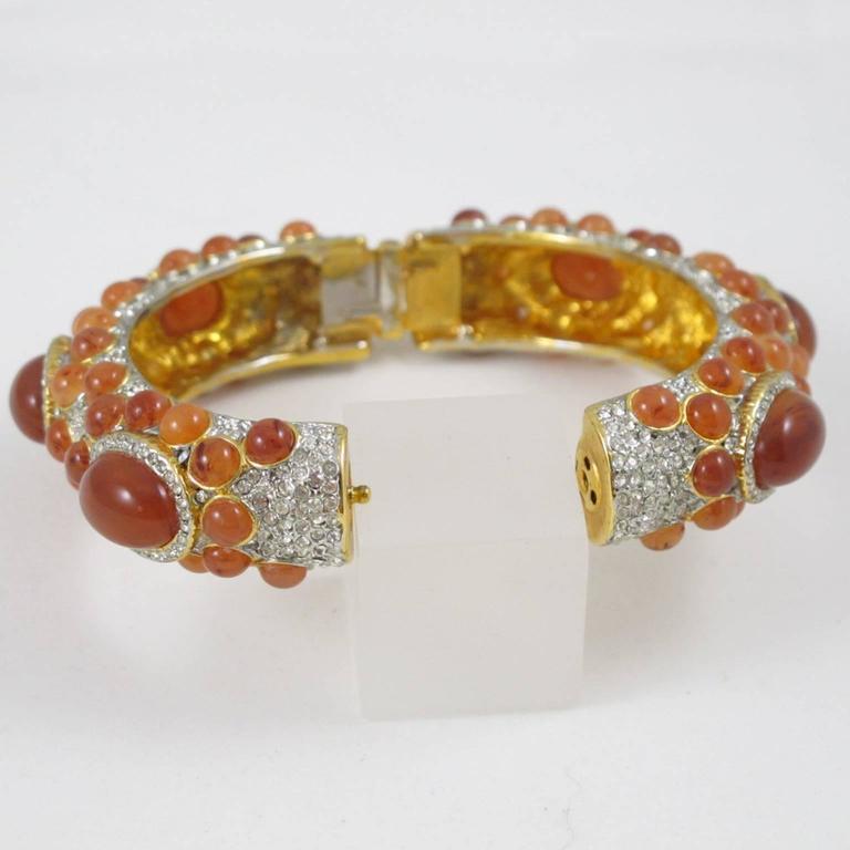 Kenneth Jay Lane Grace Collection Jeweled Clamper Bracelet Bangle  5