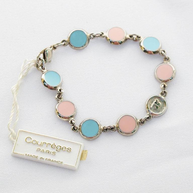 Courreges Bracelet Vintage Rare 70s Space Age Silvertone Pastel Enamel 3