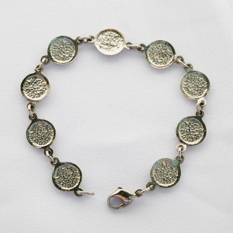 Courreges Bracelet Vintage Rare 70s Space Age Silvertone Pastel Enamel 7