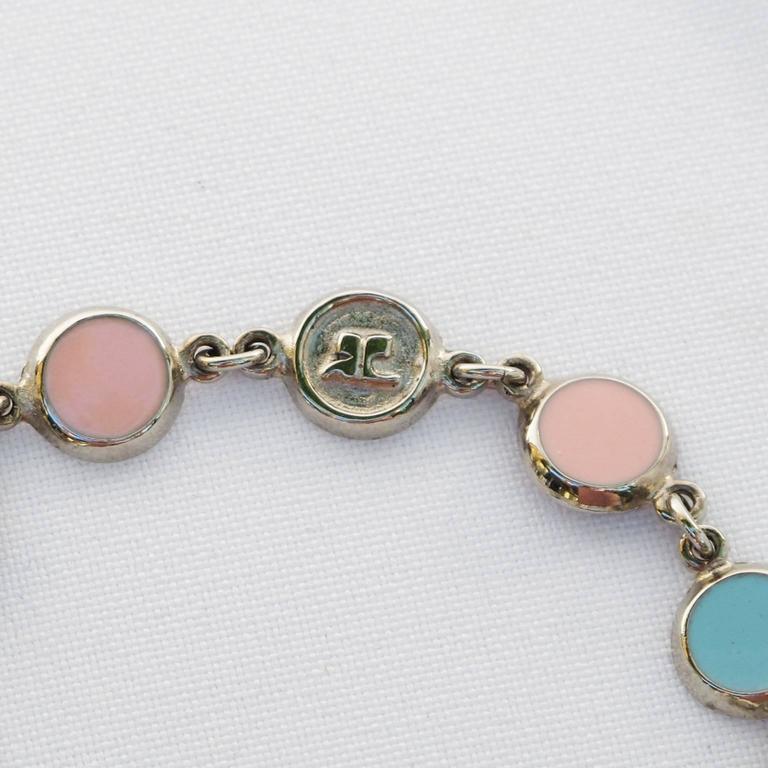 Courreges Bracelet Vintage Rare 70s Space Age Silvertone Pastel Enamel 4