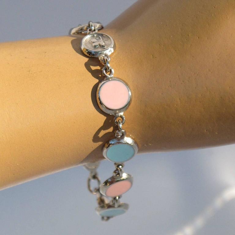 Courreges Bracelet Vintage Rare 70s Space Age Silvertone Pastel Enamel 5