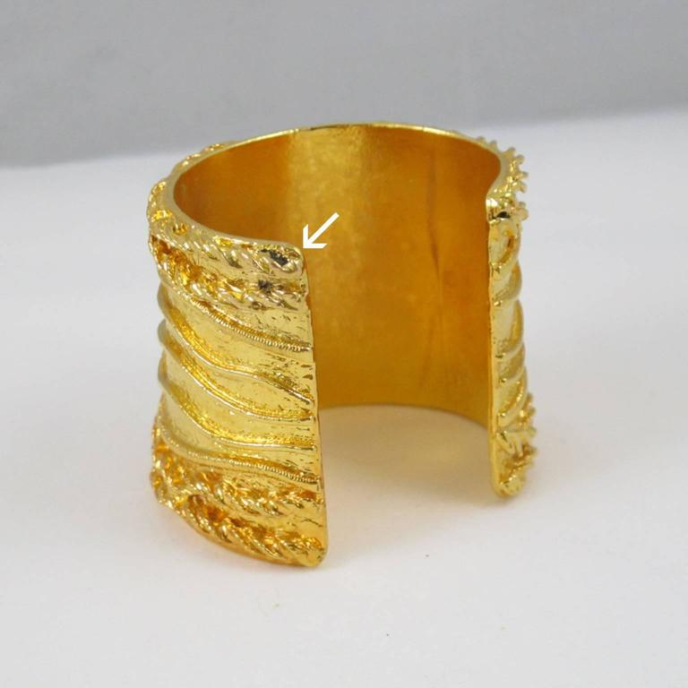 Sonia Rykiel Paris Cuff Bracelet Massive Slave Shape Gilt Metal Textured 8