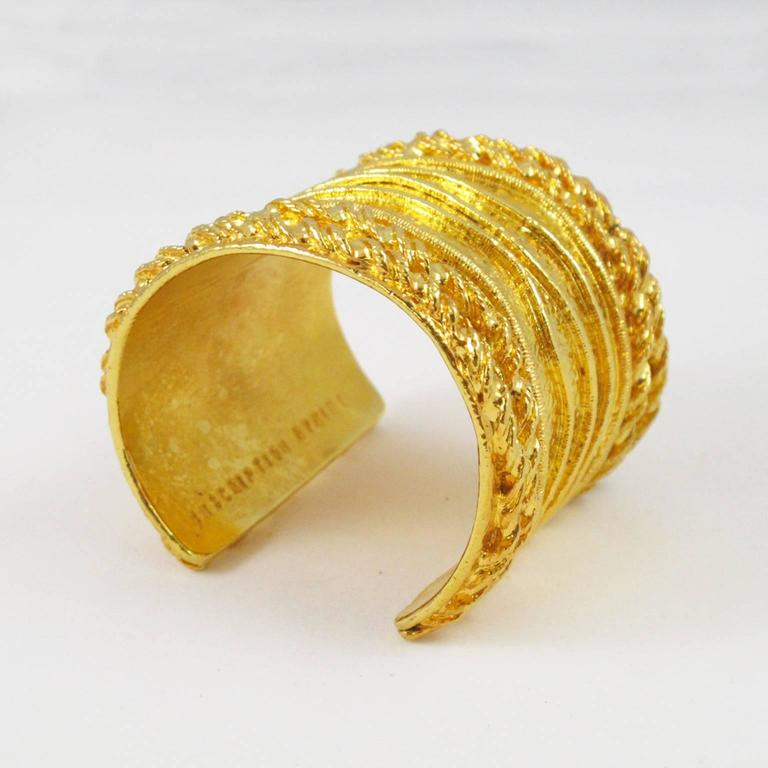 Sonia Rykiel Paris Cuff Bracelet Massive Slave Shape Gilt Metal Textured 4