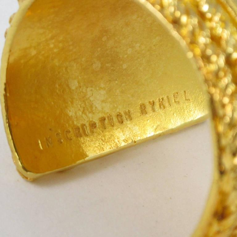 Sonia Rykiel Paris Cuff Bracelet Massive Slave Shape Gilt Metal Textured 7