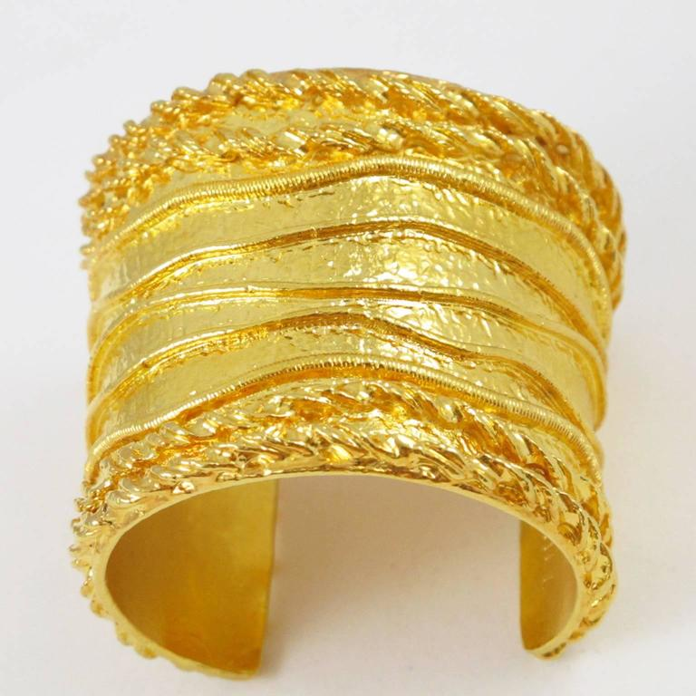 Sonia Rykiel Paris Cuff Bracelet Massive Slave Shape Gilt Metal Textured 5