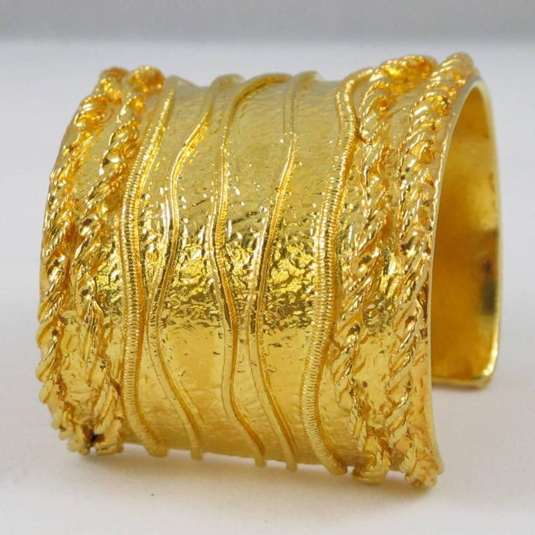 Sonia Rykiel Paris Cuff Bracelet Massive Slave Shape Gilt Metal Textured 6