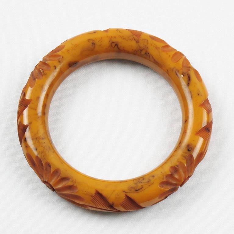 Bakelite Bracelet Bangle deep floral carved apple cider & black marble 3