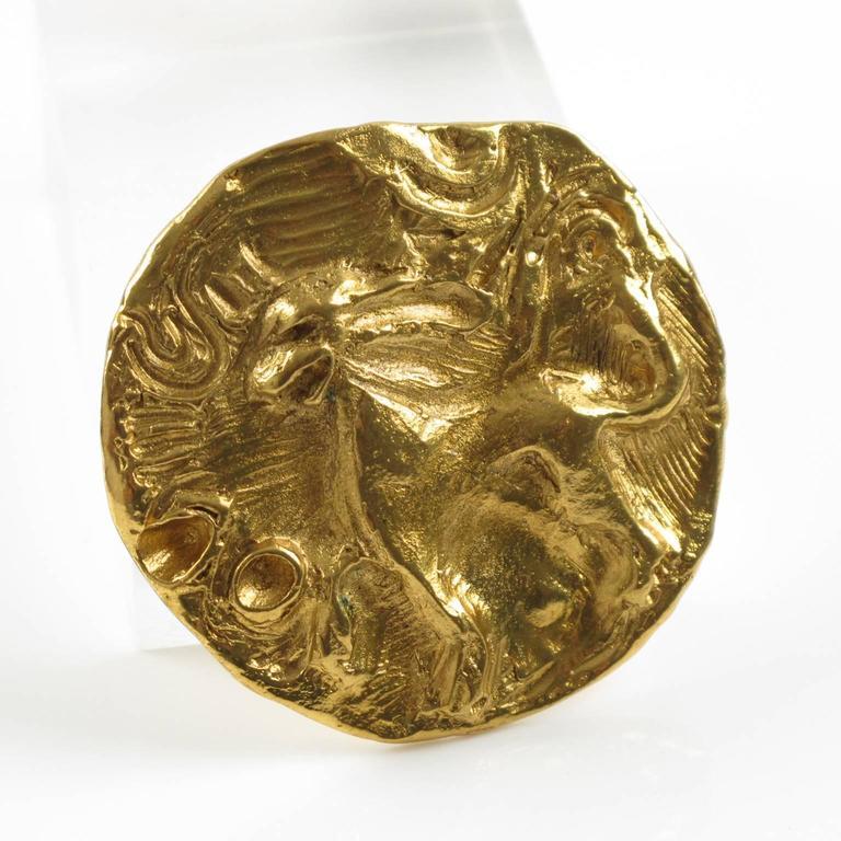 Yves Saint Laurent YSL Paris Signed Pin Brooch Pendant Mythical Lion Design For Sale 2