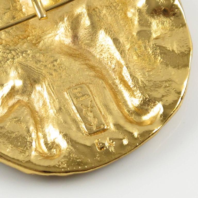 Women's or Men's Yves Saint Laurent YSL Paris Signed Pin Brooch Pendant Mythical Lion Design For Sale