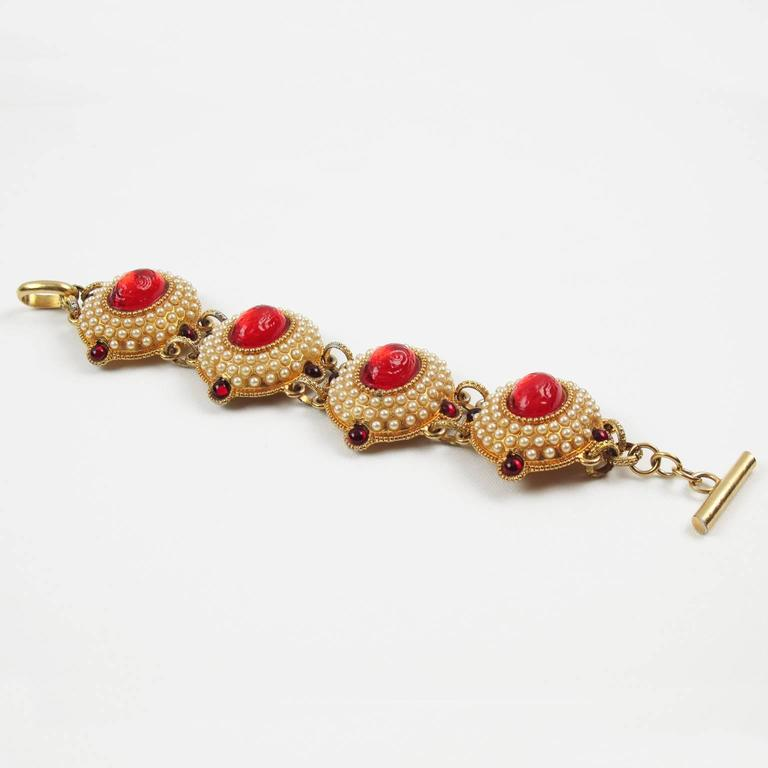 French Designer Chantal Thomass Paris signed Jeweled Link Bracelet Red Cabochon 2
