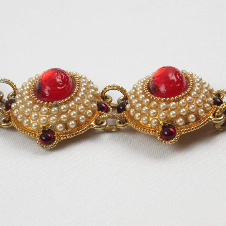 French Designer Chantal Thomass Paris signed Jeweled Link Bracelet Red Cabochon 3