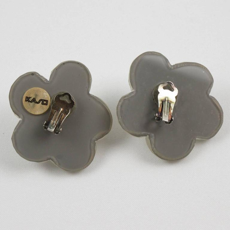 Oversized Carved Lucite Daisy Flower Clip Earrings by Harriet Bauknight for Kaso 4
