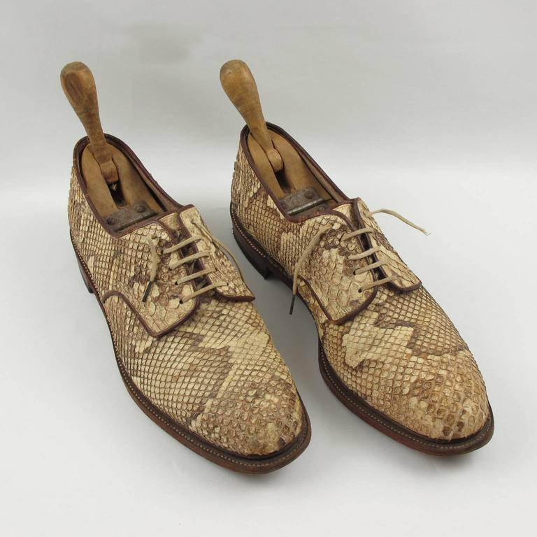 Pre War Original Python Lace Up Oxfords Men Shoes Size 42 / 9 US 2