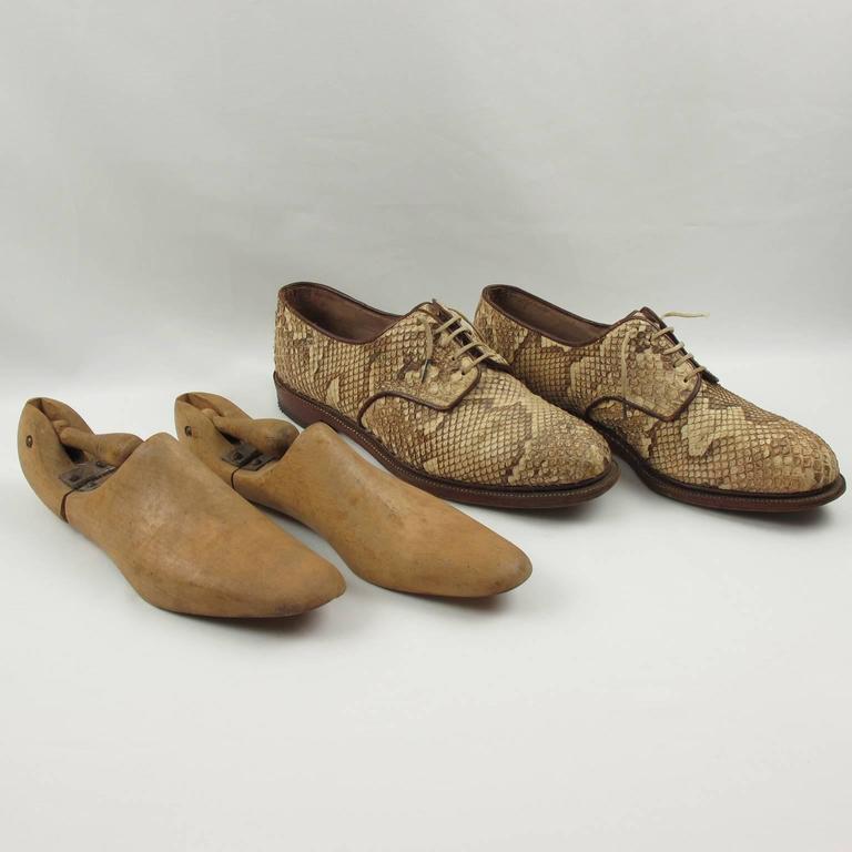 Pre War Original Python Lace Up Oxfords Men Shoes Size 42 / 9 US 7