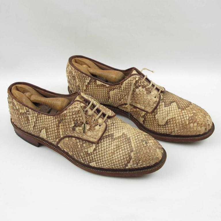 Pre War Original Python Lace Up Oxfords Men Shoes Size 42 / 9 US 3