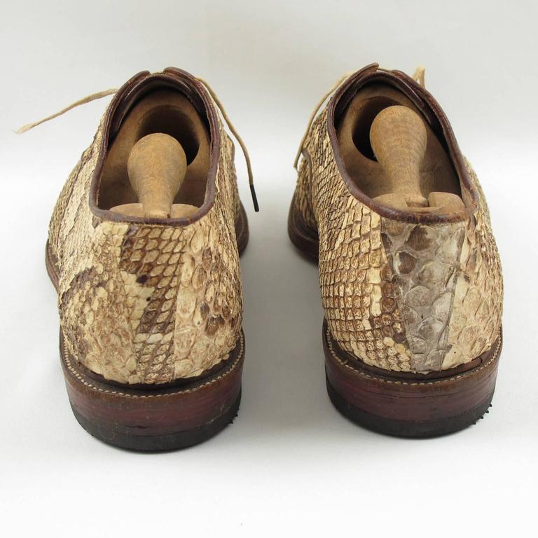 Pre War Original Python Lace Up Oxfords Men Shoes Size 42 / 9 US 6