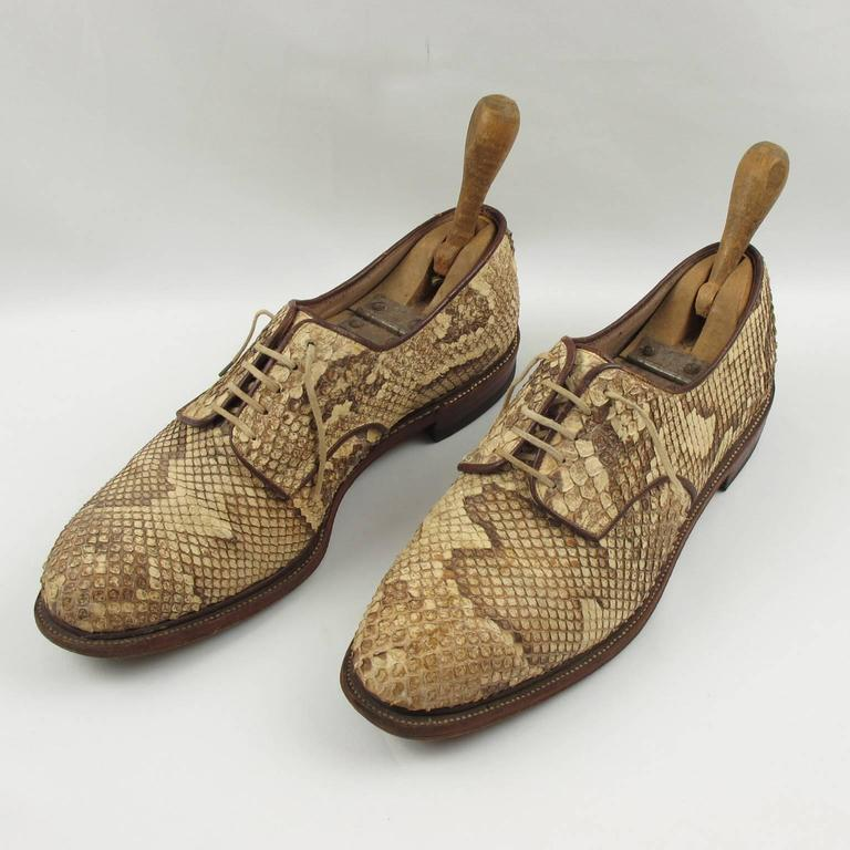 Pre War Original Python Lace Up Oxfords Men Shoes Size 42 / 9 US 4