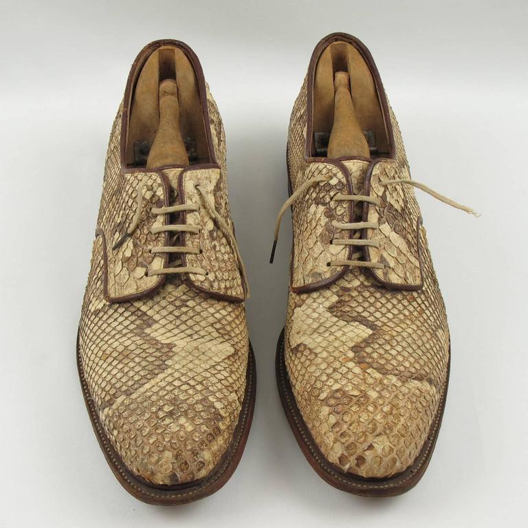 Pre War Original Python Lace Up Oxfords Men Shoes Size 42 / 9 US 5