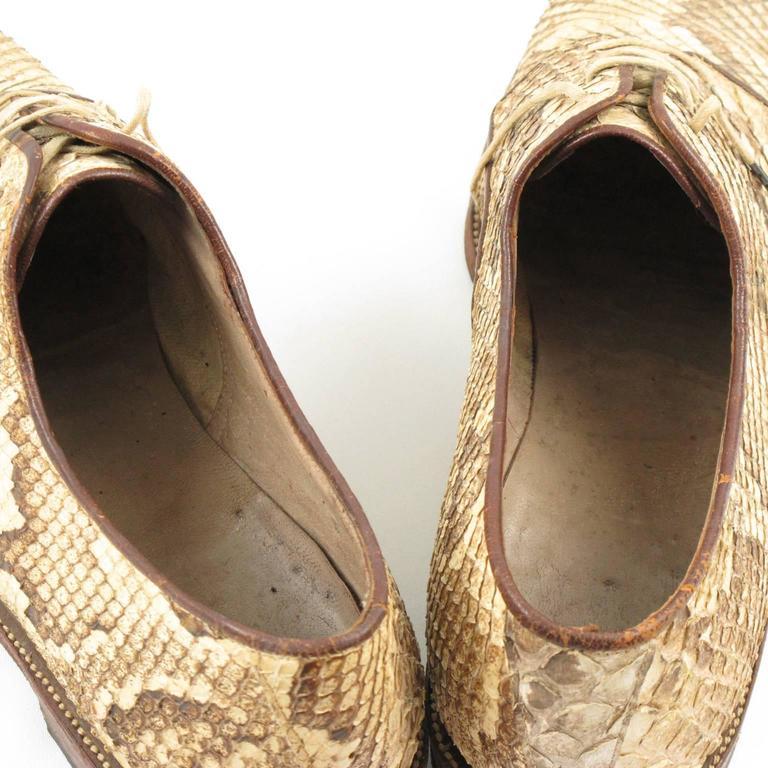 Pre War Original Python Lace Up Oxfords Men Shoes Size 42 / 9 US 9
