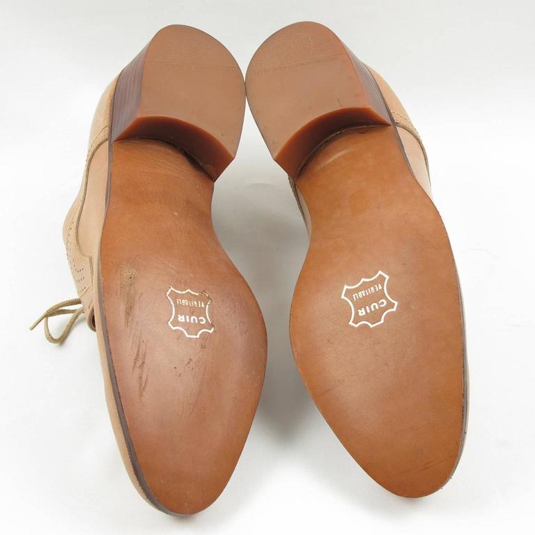 Vintage 1950s Nude Leather Derbys Men Shoes Size 41 / 8.5 US For Sale 4
