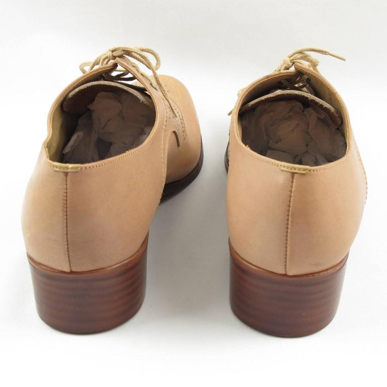 Vintage 1950s Nude Leather Derbys Men Shoes Size 41 / 8.5 US For Sale 2