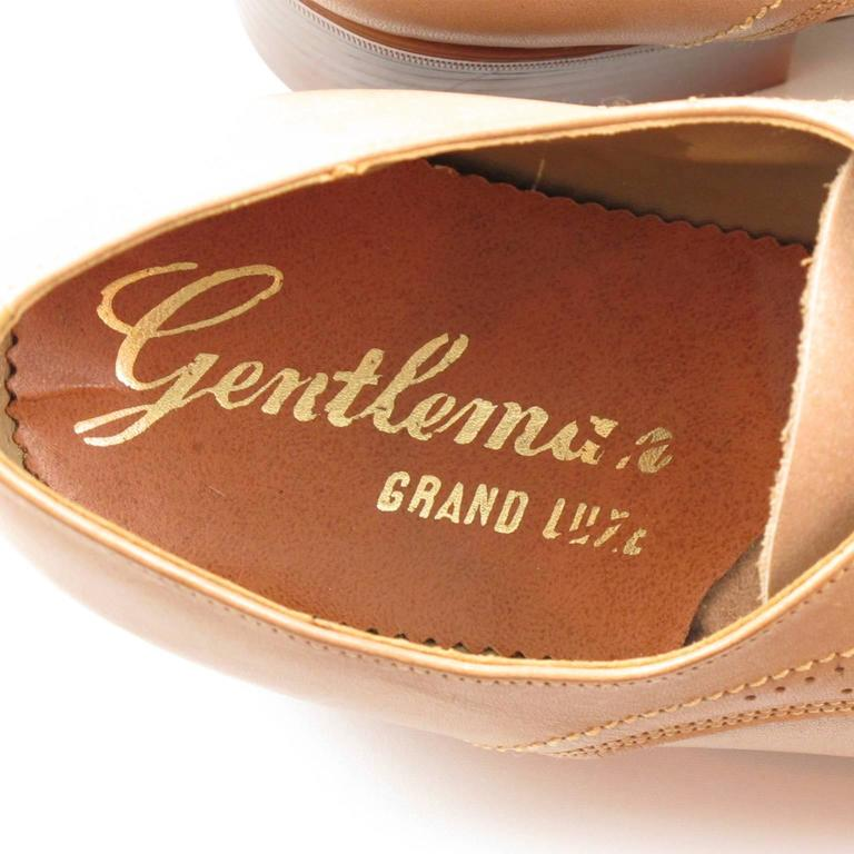 Vintage 1950s Nude Leather Derbys Men Shoes Size 41 / 8.5 US For Sale 3