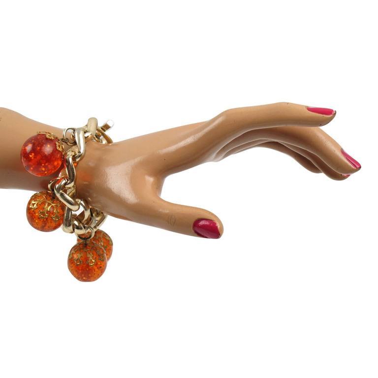 Orangeade Prystal Bakelite Bead Charm Bracelet with Gilt Chain 6