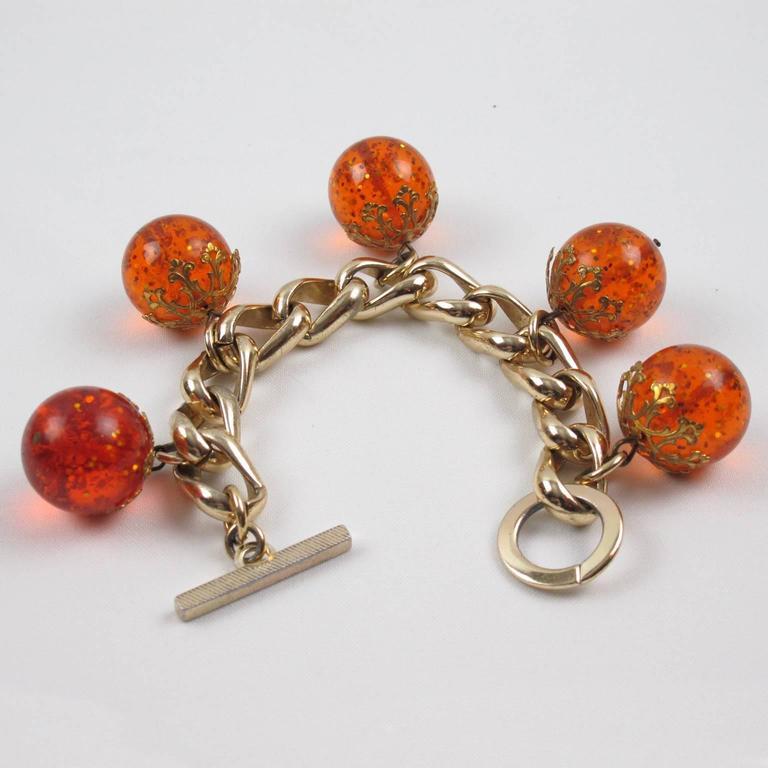 Orangeade Prystal Bakelite Bead Charm Bracelet with Gilt Chain 2
