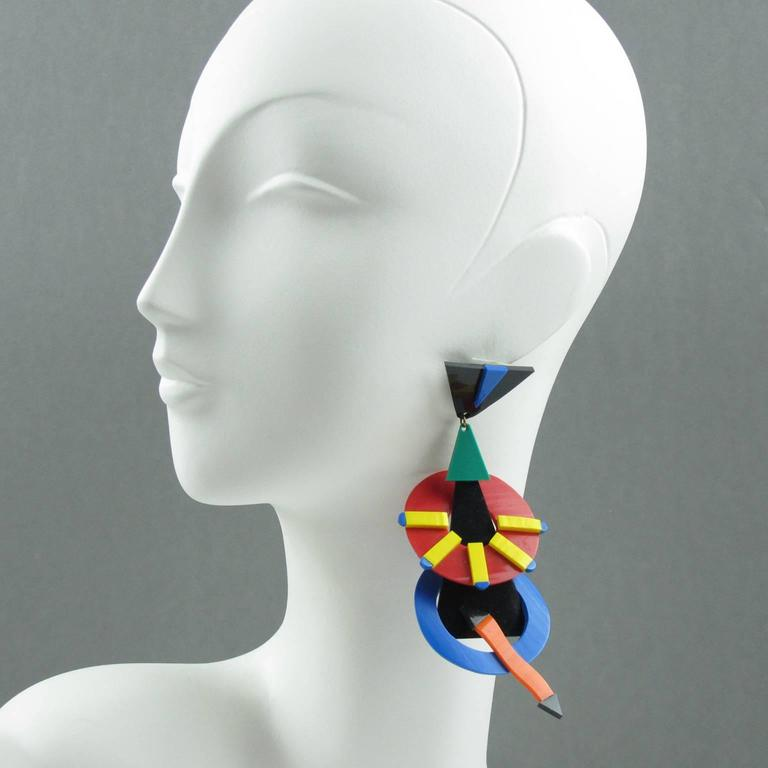 Italian Designer Memphis Studio Oversized Chandelier Colorful Earrings 1980s 2