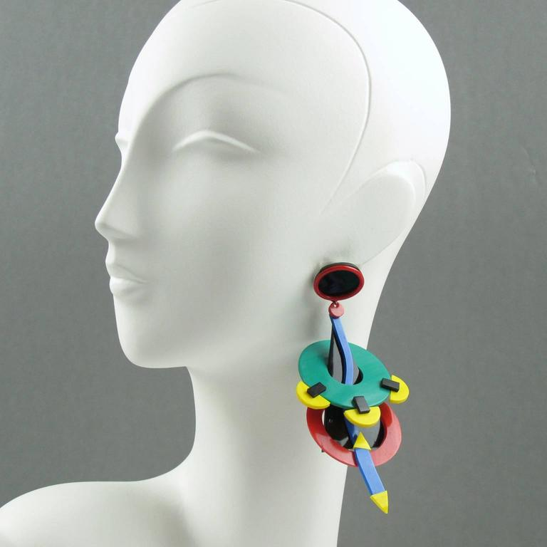 Italian Designer Memphis Studio Oversized Chandelier Colorful Earrings 1980s 3