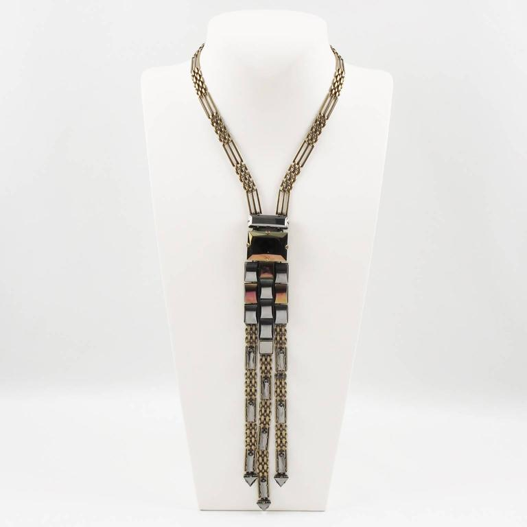 Jean Paul Gaultier Paris Extra Long Tie Necklace Metallic Rhinestones In Excellent Condition For Sale In Atlanta, GA