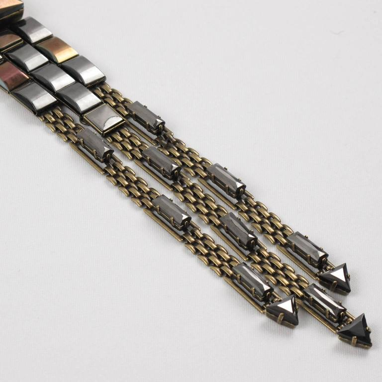 Jean Paul Gaultier Paris Extra Long Tie Necklace Metallic Rhinestones For Sale 3