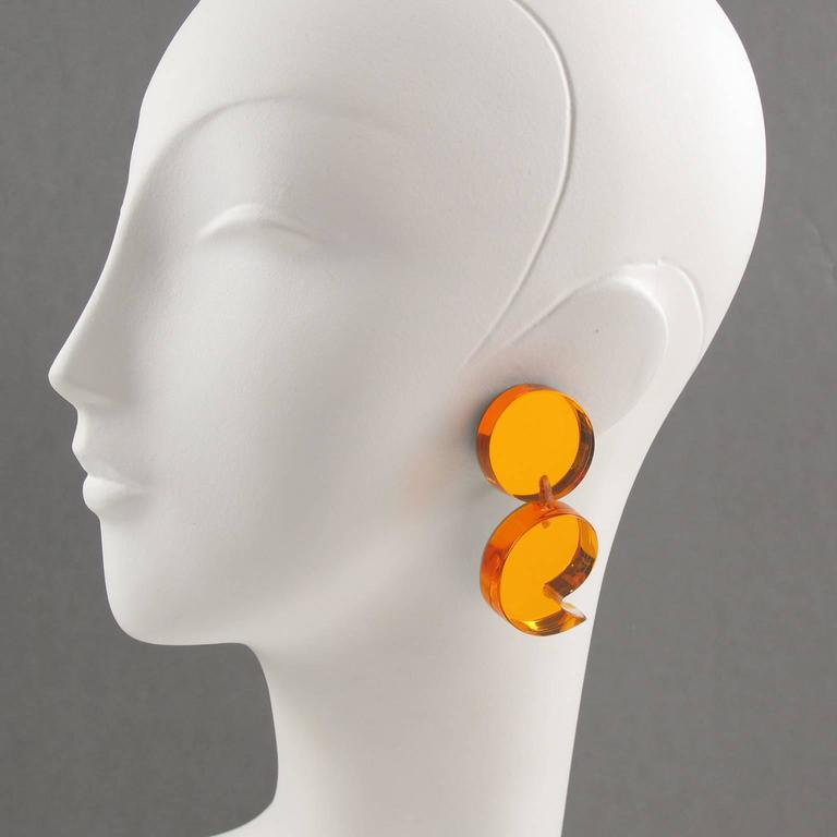 Oversized Neon Orange Lucite Dangle Clip Earrings by Harriet Bauknight for Kaso 2
