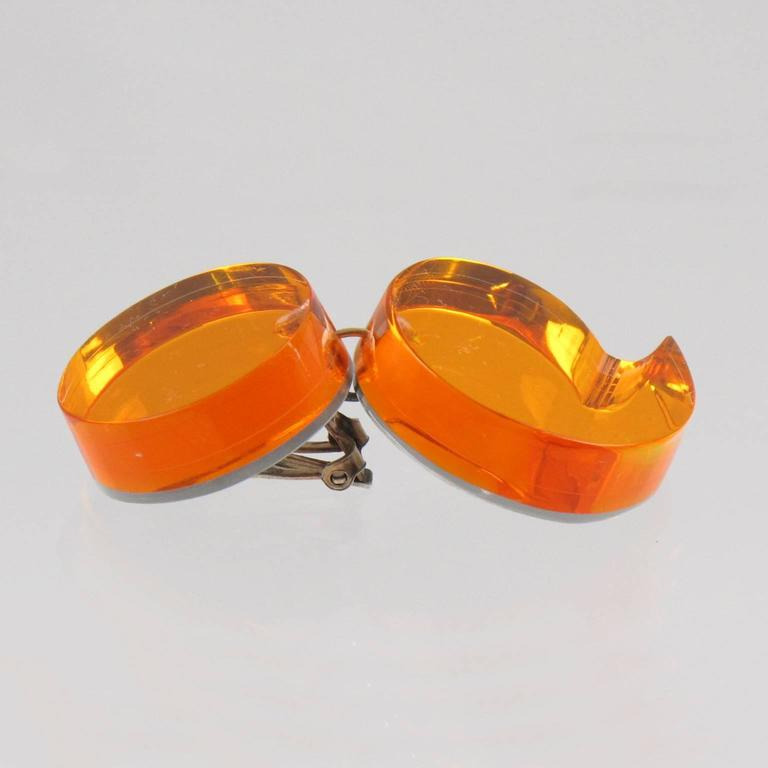 Oversized Neon Orange Lucite Dangle Clip Earrings by Harriet Bauknight for Kaso 5