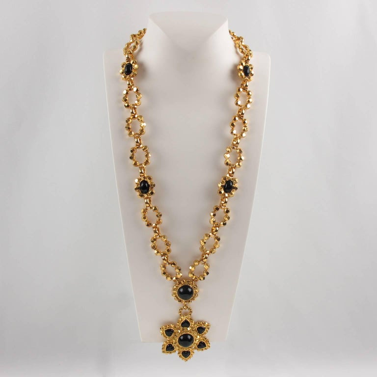 Edouard Rambaud Paris Signed Byzantine Extra Long Necklace Black Cabochon In Excellent Condition For Sale In Atlanta, GA