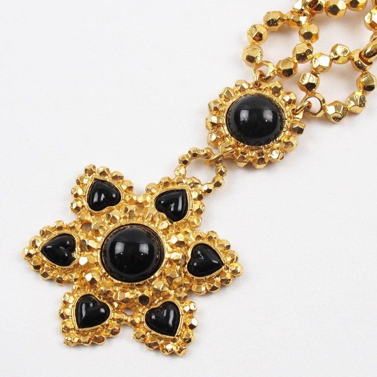 Edouard Rambaud Paris Signed Byzantine Extra Long Necklace Black Cabochon For Sale 1