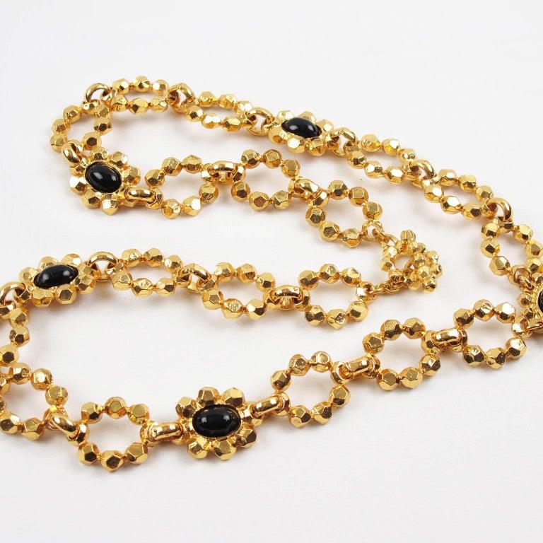 Edouard Rambaud Paris Signed Byzantine Extra Long Necklace Black Cabochon For Sale 2
