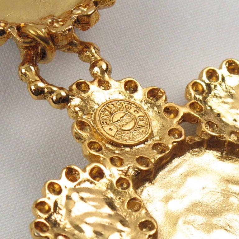 Edouard Rambaud Paris Signed Byzantine Extra Long Necklace Black Cabochon For Sale 3