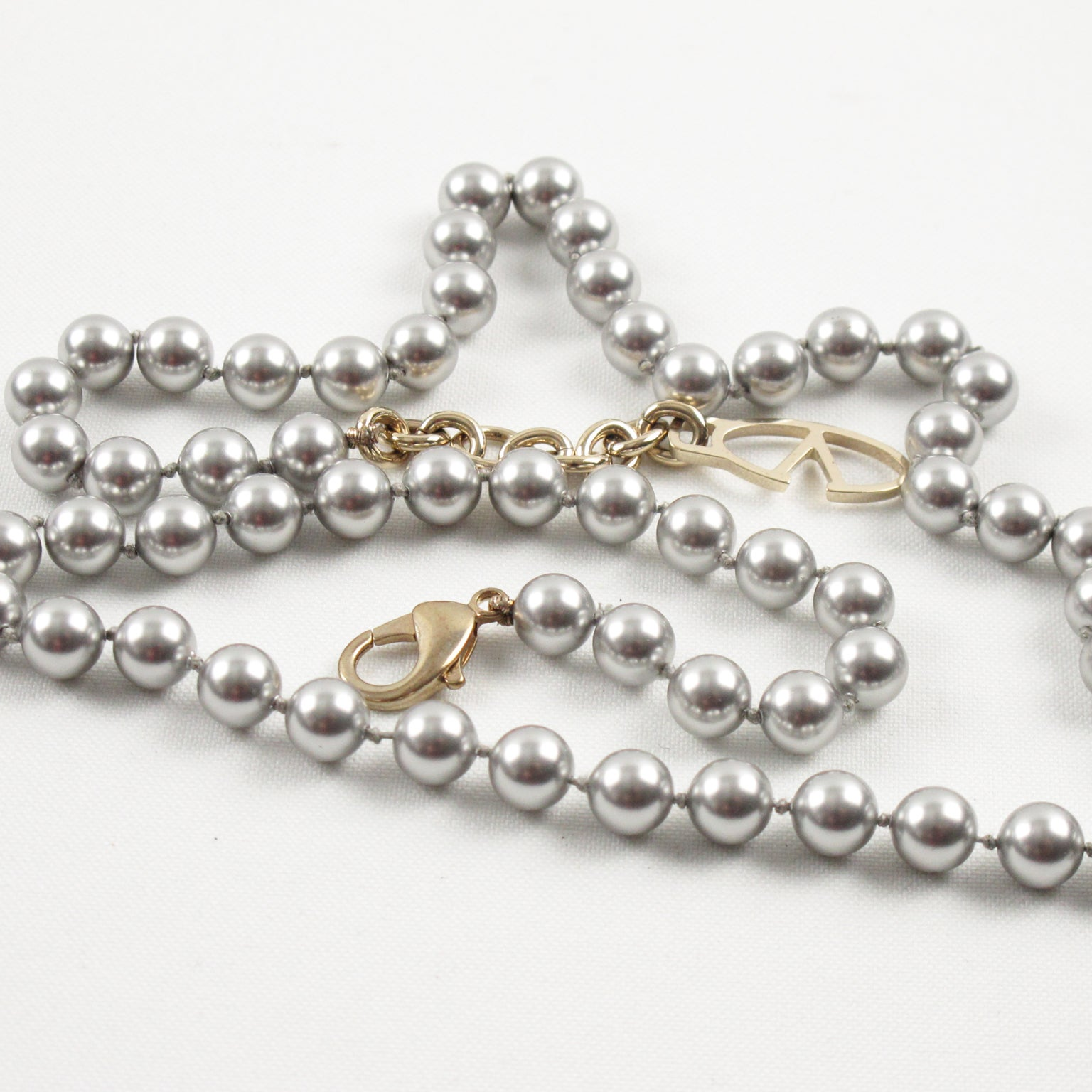 faccf555e Valentino Signed Gray Pearl-like Necklace Large Geometric Pendant at 1stdibs