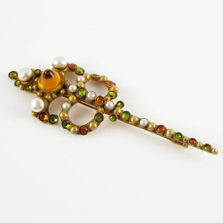 1950s French gilt metal with stones Pin Brooch by Henry Perichon aka Henry 3