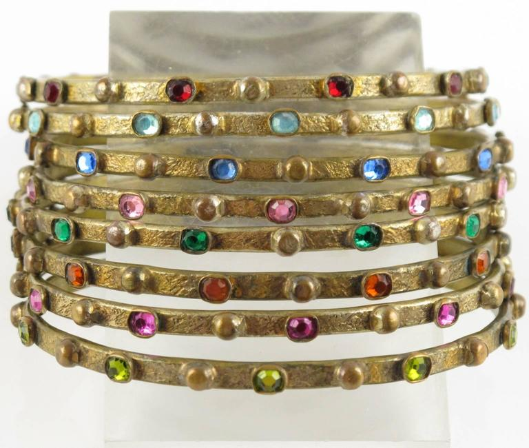 Gilt Metal Bracelet Bangle with Stones by Henry Perichon aka Henry 8 spacers 4