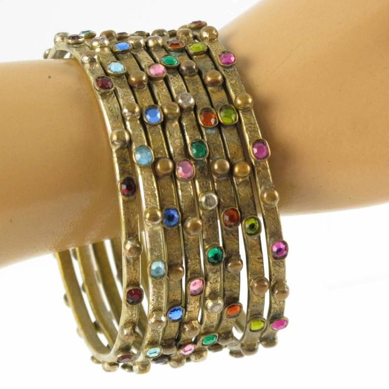 Gilt Metal Bracelet Bangle with Stones by Henry Perichon aka Henry 8 spacers 6
