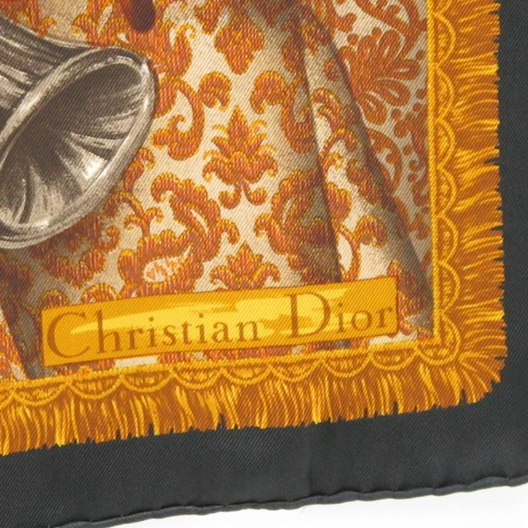 Vintage Christian Dior Silk Twill Scarf Music Instruments Design 3